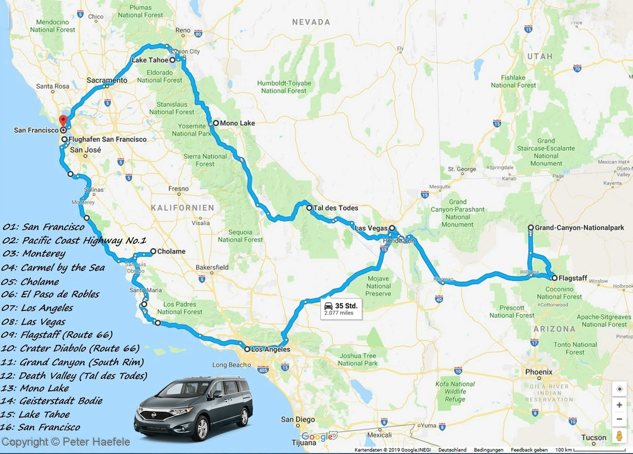 Route Roadtrip Westkueste USA